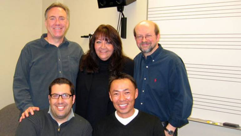 Shown after the class are: Front L-R:  Composer Christopher Lennertz, BMI's Ray Yee. Back L-R:  Brian King , USC, Director, Scoring for Motion Pictures & Television; BMI's Doreen Ringer Ross and Jon Burlingame,  Author/Adjunct Assistant Professor of Scoring for Motion Pictures and Television.