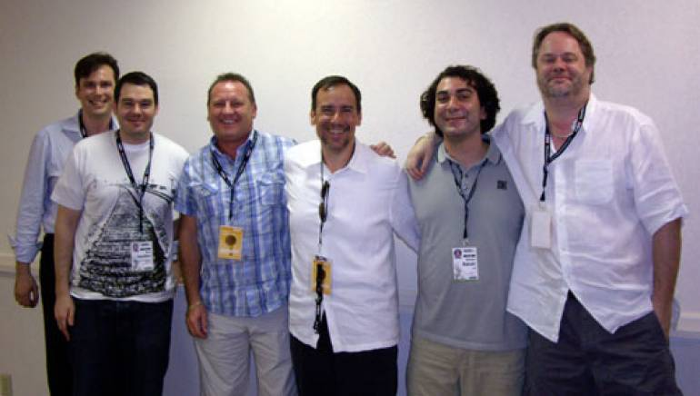 Pictured are (l-r): Eric Beall, Brian Hamilton, John Saunderson, Frank Liwall, BMI's Brandon Bakshi, and Andrew Bailey.