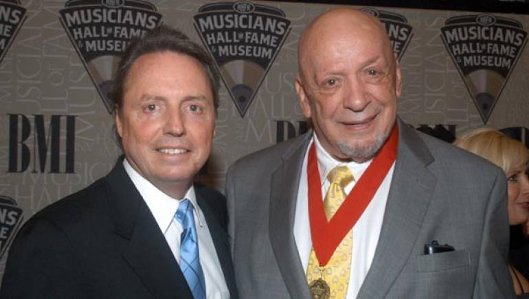 BMI's Jody Williams pauses for a photo with 2009 Musicians Hall of Fame inductee, producer and Monument Records founder Fred Foster at the 2009 Musicians Hall of Fame induction ceremony held October 12 in Nashville.