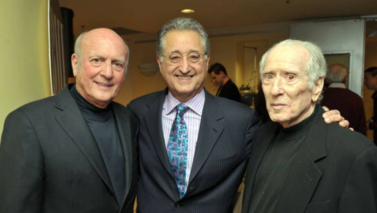 Pictured at BMI's Los Angeles offices during a reception staged to welcome the duo back to BMI earlier this year are Mike Stoller, BMI President & CEO Del Bryant and Jerry Leiber.