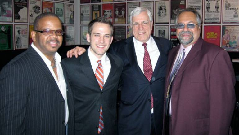 Pictured at the22nd annual Thelonious Monk International Jazz Competition and all-star Gala Concert are Terence Blanchard, 2009 Thelonious Monk International Jazz Composer's Competition grand prize winner Joe Johnson, BMI's Robbin Ahrold, and Joe Lovano. Esteemed multi-instrumentalist Lovano played in the band that performed Johnson's winning work