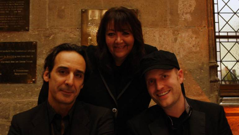 Pictured at the Ghent Film Festival in Belgium are World Soundtrack Awards Film Composer of the Year Alexandre Desplat, BMI's Doreen Ringer Ross, and World Soundtrack Awards nominated-composer <a id='f4634' class='f4634' href='/affiliate/C4634'>Andrew Lockington</a>.