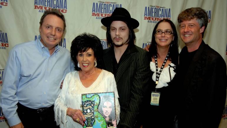BMI congratulates Americana Music Association Lifetime Achievement Award recipient Wanda Jackson at the 2010 Americana Music Association Honors and Awards. Pictured are BMI's Jody Williams, Wanda Jackson, Jack White, and the Americana Music Association's Danna Strong and Jed Hilly.