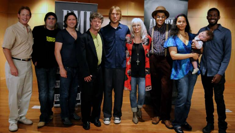 at the party are BMI's Clay Bradley; nominees Ray Wylie Hubbard and Will Kimbrough; Americana Music Association's Jed Hilly; Todd Snider and Emmylou Harris; and nominees Dom Flemons, Rhiannon Giddens, and Justin Robinson of the Carolina Chocolate Drops.