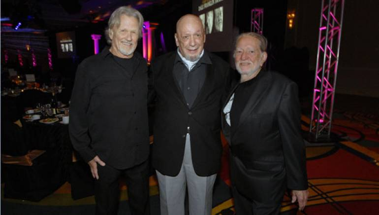 2010 Leadership Music Dale Franklin Award honorees Kris Kristofferson, Fred Foster and Willie Nelson pause for a photo.