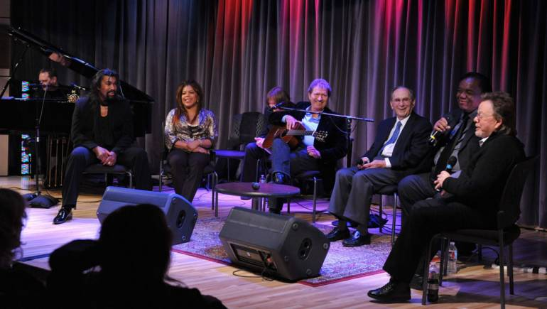 After the ribbon-cutting ceremony to open the Songwriters Hall of Fame Gallery at the Grammy Museum, guests adjourned to the Clive Davis Theatre to witness the first public program offered by SHOF at the Museum. Dubbed,