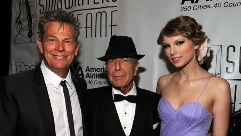 BMI songwriters David Foster, Leonard Cohen and Taylor Swift attend the 41st Annual Songwriters Hall of Fame Ceremony at The New York Marriott Marquis on June 17, 2010 in New York City.
