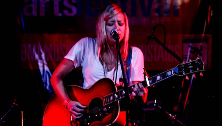 Amy Stroup offers a soulful performance in the BMI Music Café during the Kimball Arts Festival in Park City, Utah.