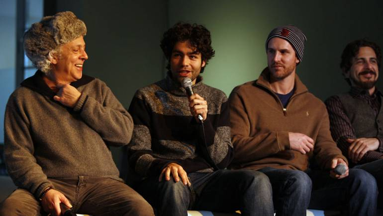 <em>Teenage Poparazzo</em> composer David Torn and director Adrian Grenier discuss their collaboration as <em>Skateland</em> director Anthony Burns and composer Michael Penn look on during the BMI Sundance Composer/Director Roundtable.