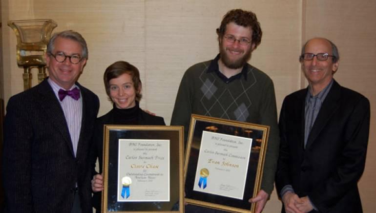 BMI Foundation President Ralph N. Jackson, Claire Chase, Evan Johnson, and Concert Artist Guild President Richard Weinert.