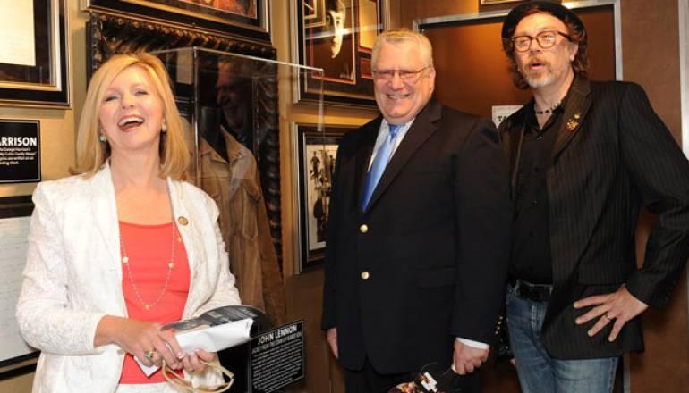 Representative Marsha Blackburn, Hard Rock Historian Jeff Nolan, and BMI's Fred Cannon enjoy the Hard Rock Capitol Hill Event.