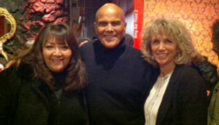 """BMI's Doreen Ringer Ross pauses for a photo with Harry and Pam Belafonte at the screening of """"Sing Your Song."""""""