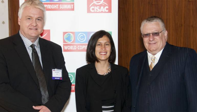 Fred Cannon (r), BMI Senior Vice President Government Relations, is pictured at the World Copyright Summit with White House Intellectual Property Enforcement Coordinator Victoria Espinel and CISAC Chairman Kenth Muldin.