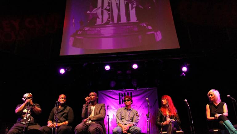 Cee Lo Green, Claude Kelly, Seal, Chad Hugo, Bonnie McKee, and BC Jean serve as the all-star panel during BMI's