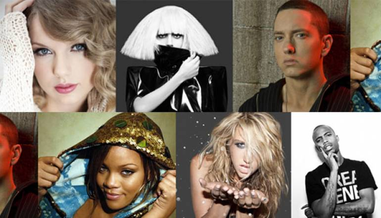 Pictured are Taylor Swift, Lady Gaga, Eminem, Rihanna, Ke$ha, & B.o.B