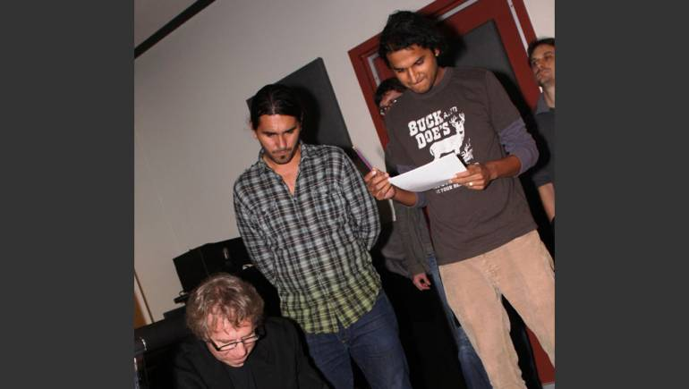 Pictured above: Rick Baitz instructs emerging film composers Gervasio Goris and Neil Shah during the 2009 installment of Composing for the Screen.