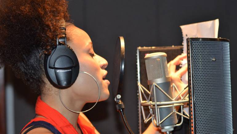 Oceana records a new track during BMI's Kingston Songwriter Camp.