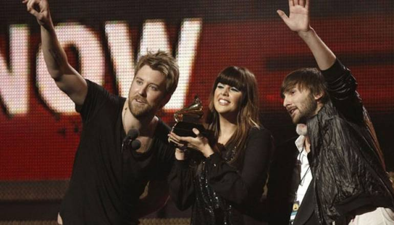 Lady Antebellum celebrates another win at the 2011 Grammy Awards.