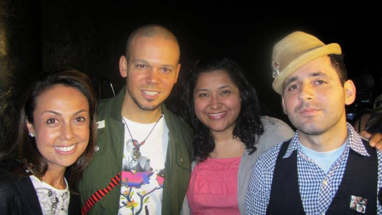 BMI's Delia Orjuela (left) and Marissa Lopez (second from right) congratulate Calle 13's Rene Perez and Eduardo Cabra on their historic 10 Latin Grammy nods at the 2011 nominations announcement in Los Angeles.