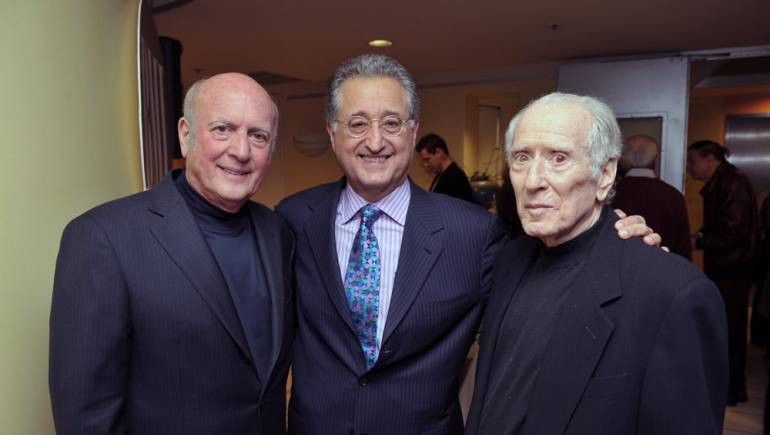 Pictured in 2009 at BMI's Los Angeles offices during a reception in honor of Leiber and Stoller are Mike Stoller, BMI President & CEO Del Bryant and Jerry Leiber.