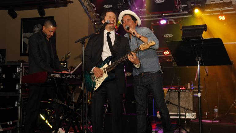 Pictured: Latin Grammy winner Jorge Villamizar of Alex, Jorge y Lena and Latin Grammy nominee Aureo Baqueiro provide a memorable performance at Los Producers Charity Show.