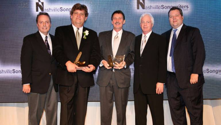 Pictured at the 2011 Nashville Songwriters Hall of Fame Dinner & Induction Ceremony are BMI's Jody Williams, honorees Thom Schuyler and David Conrad, Rondor Music's Lance Freed, and BMI's Bradley Collins. Schuyler was inducted into the Nashville Songwriters Hall of Fame, while Conrad received the Frances Williams Preston Mentor Award, named after BMI's legendary former CEO.