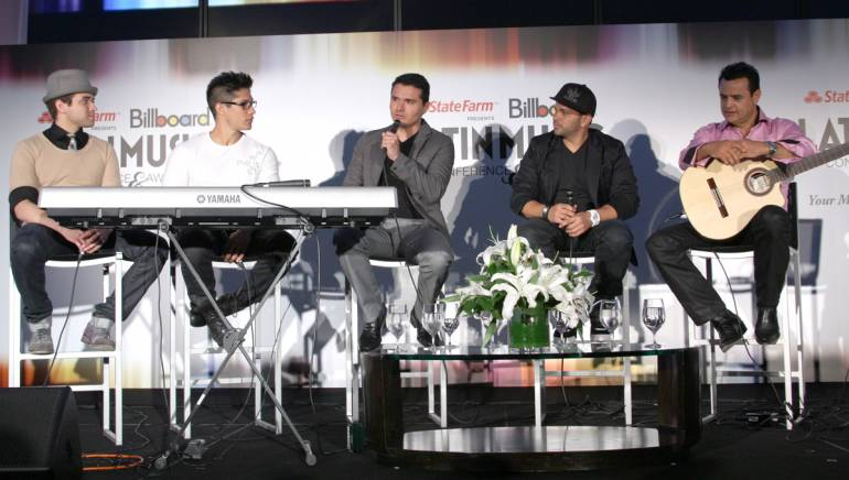 """Pictured at BMI's """"How I Wrote That Song"""" during the Billboard Latin Music Conference are Nacho, Chino, Horacio Palencia, Gocho and Benny Camacho."""