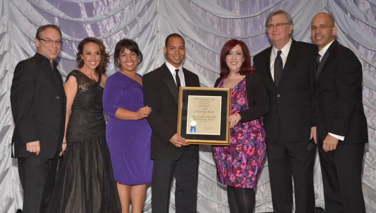 Pictured at the 19th Annual BMI Latin Awards are peermusic's Julio Bague; BMI's Delia Orjuela; Chaf Enterprises' Maria Lozano; peermusic Latin Scholarship winner Jean Carlos Almonte; peermusic's Yvonne Drazan, BMI's Phil Graham; and the BMI Foundation's Porfirio Piña.