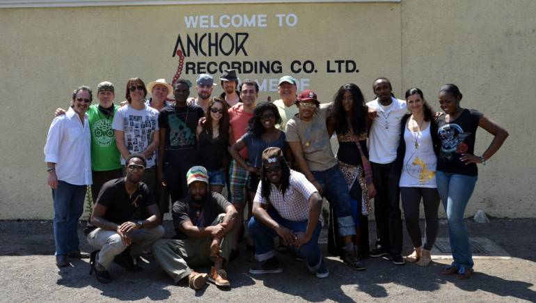 Pictured at the 2012 BMI Kingston Songwriters Camp are (back row) Steven Weber, Andrew T. Mackay, Matt Backer, Garry Hughes, Ronaldo, Patrick Jordan-Patrikios, Jessica Bennett, Tony Grund, BMI's Brandon Bakshi, Ruby Goe, John Sanuderson, Don Yute, Italee, Elexican Eldemire, Christina Grand, and Cameal Davis; (front row) M1, Senior and Dizzle.