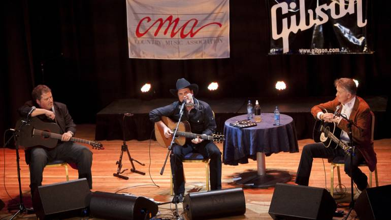 Bob DiPiero, Clint Black, and Bill Anderson perform at the Islington Assembly Hall in London during the CMA Songwriter Series.