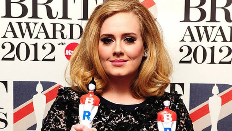Pictured: Adele won two trophies at the 2012 BRIT Awards.