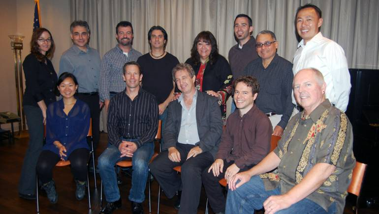 "Pictured at the 2011 installment of ""Composing for the Screen"" are (back row) BMI's Lisa Feldman; students Louis Gentile, John Blair and Tom Nazziola; BMI's Doreen Ringer Ross; students William Arnold and Jesus Santiago; and BMI's Ray Yee; (front row) students Linda May Han Oh and Stephen Woltosz; workshop director Rick Baitz; student David Nagler; and visiting composer George S. Clinton."
