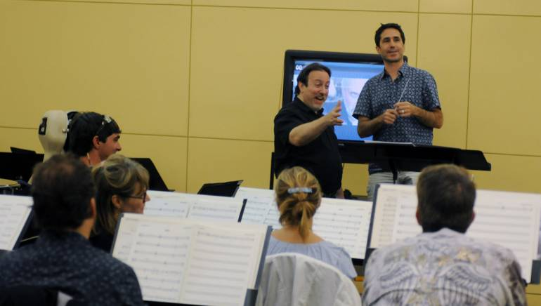 Lucas Richman guides Mac Quayle at the 2012 Conducting for the Film Composer Workshop.