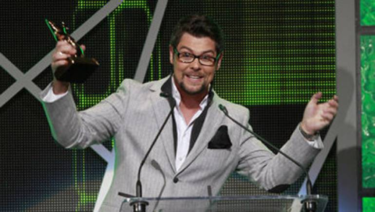 Jason Crabb celebrates one of his two big wins at the 2012 Dove Awards.