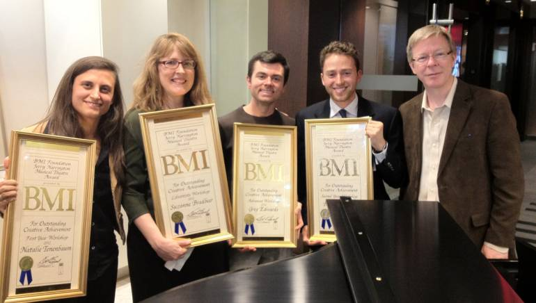 Pictured at the 13th Annual BMI Foundation Jerry Harrington Awards for Creative Excellence presentation are first-year winner Natalie Tenenbaum; librettist winner Suzanne Bradbeer; third-year winner Greg Edwards; second-year winner Benjamin Velez; and BMI's Patrick Cook.