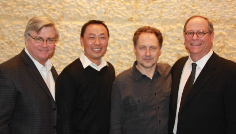 Pictured at BMI's New York offices are: BMI's Phil Graham, Ray Yee, composer Mark Isham, and BMI's Charlie Feldman.