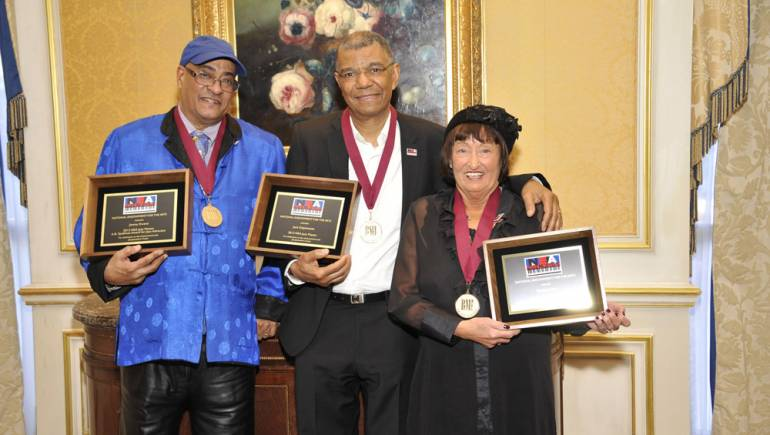 2012 NEA Jazz Masters Jimmy Owens, Jack DeJohnette and Sheila Jordan celebrate.