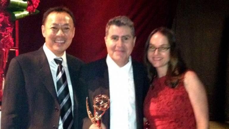 Pictured: BMI's Ray Yee, composer Javier Navarrete and BMI's Lisa Feldman celebrate Navarrete's 2012 Emmy win.