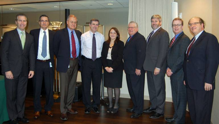 U.S. Register of Copyrights Maria Pallante (center) is pictured with BMI's Mike Steinberg, Joe DiMona, Ron Solleveld, Barry Bronstein, Fred Cannon, Jim King, Stu Rosen and Gary Roth.