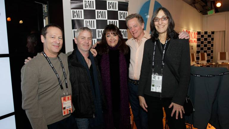 Pictured at BMI's composer/director roundtable are composer Cliff Martinez (<em>Arbitrage</em>) and composer/Sundance Composers Lab advisor Blake Neely; BMI's Doreen Ringer Ross; and composers Michael Bacon (<em>Slavery by Another Name</em>) and Miriam Cutler (<em>Ethel</em>).