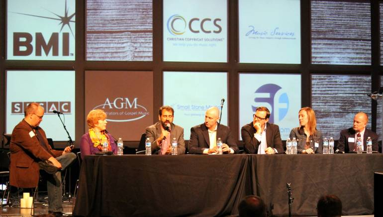 Pictured L-R: Moderator Matt Thompson of Song Freedom, Susan Fontaine Godwin of Christian Copyright Solutions, John Raso of the Harry Fox Agency, BMI's Jack Flynnand Michael Drexler, SESAC's Katie Alphonso and ASCAP's Jeff Okkonen.