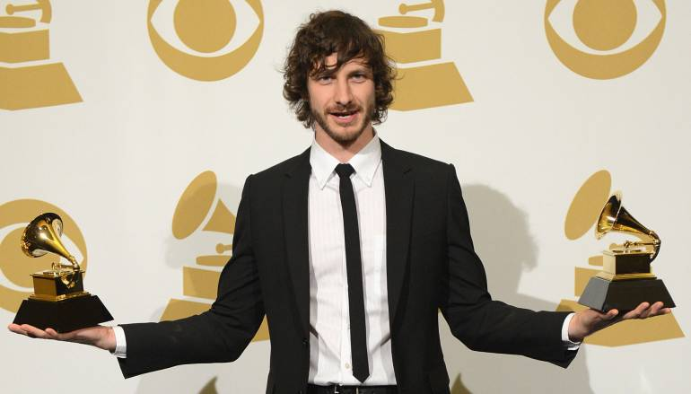 BMI songwriter Gotye celebrates his three Grammy wins in the press room during the Grammy Awards at the Staples Center.