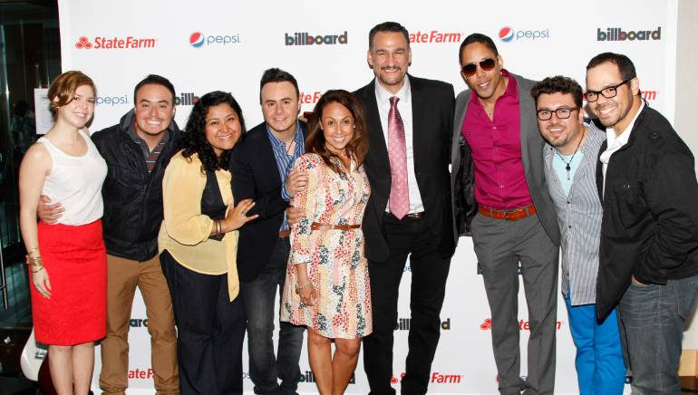 BMI Director, Latin Writer/Publisher Relations Carolina Arenas; Raul Roma; BMI Director, Latin Writer/Publisher Relations Marissa Lopez; Jose Luis Roma; BMI Vice President, Latin Writer/Publisher Relations Delia Orjuela; Kike Santander; Wise The Gold Pen; Luis Carlos Monroy and BMI Senior Director, Latin Writer/Publisher Relations Joey Mercado.