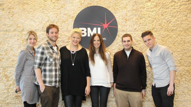 Pictured: BMI's Samantha Cox, BMI's Jake Simon, Betty Who, BMI's Brooke Morrow, Ethan Schiff (Who's manager), and BMI's Calvin Rosekrans
