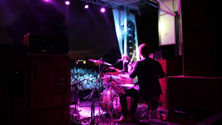 Pictured: Wild Belle closed the first night of the inaugural BMI Stage at LouFest 2013 in St. Louis, MO, with a massive crowd singing along to their hit single,