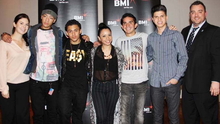 Pictured (L-R) are: BMI's Carolina Arenas, BMI songwriters BB Bronx, Esme Melody, Eli Jas, Carlos Escalona and Valentino, and Celia Cruz Bronx High School of Music Principal Jerrod Mabry.