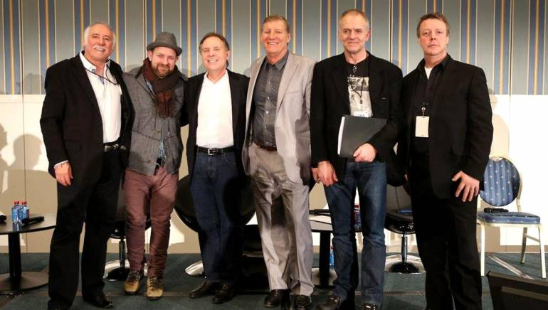 Pictured at the conference's key note panel from l-r are Steve Moore, CEO CMA; Sugarland's Kristian Bush; Jay Marciano, President and CEO of AEG; Rob Potts, CEO Rob Potts Entertainment Edge; Magnus Erikson, MEP Entertainment; and BMI's Senior Executive Europe Simon Aldridge