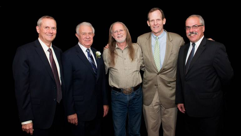 Pictured after Barker's performance (l to r): Maine Restaurant Association COO Chris Jones, MRA President/CEO Dick Grotton, Aaron Barker, BMI's Dan Spears, Maine Innkeepers Association Executive Director and MRA incoming CEO Greg Dugal.