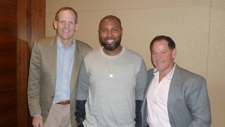 Pictured before the session (l to r): BMI's Dan Spears, Claude Kelly, Radio One VP of Programming Content Jay Stevens.