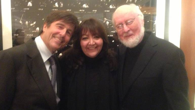 Pictured at the Lionel Newman building dedication at 20th Century Fox are (L-R): BMI composer Thomas Newman, BMI's Doreen Ringer-Ross and BMI composer John Williams.